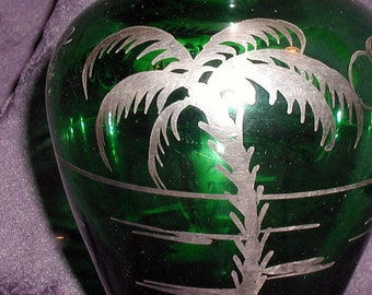 Vintage 1940s Bohemian Glass Vase with Sterling Silver Overlay Tropical Sanremo Souvenir