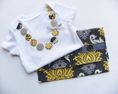 Baby Girl GIFT SET- Yellow and Gray Damask- Diaper and Wipes Case with matching Necklace Onesie