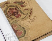 Leather Journal Cover - Wine Paisley Suede