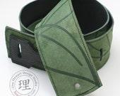 Leather Suede Guitar Strap - Green Leaf