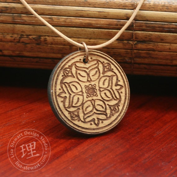 Owl Wood Pendant on Leather Cord -Tan Mahogany