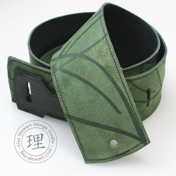 Leather Suede Guitar Strap - Green Leaf