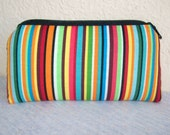 Multi Colored Stripes Cotton Padded Pipe Pouch 5.5""
