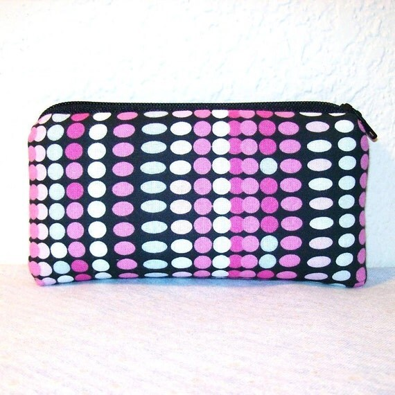 """Pink White & Black Polka Dots Cotton Padded Pipe Pouch 5.5"""""""