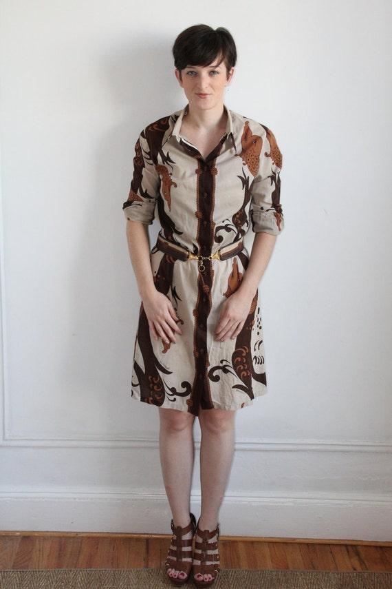 70's Fish Print Shirt Dress - M