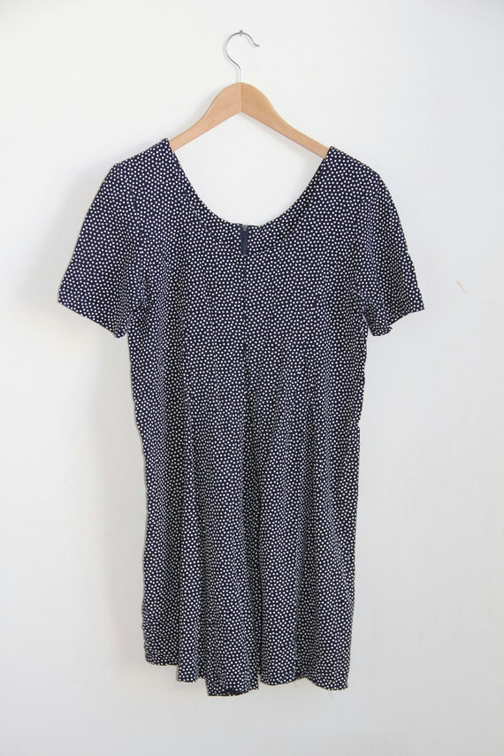 Navy and White Polka Dot Romper - M