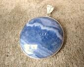 blue lace chalcedony gemstone pendant bead
