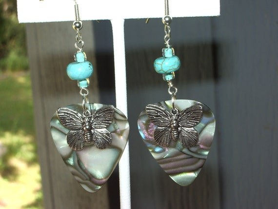 oyster shell colored pick and turquoise earrings
