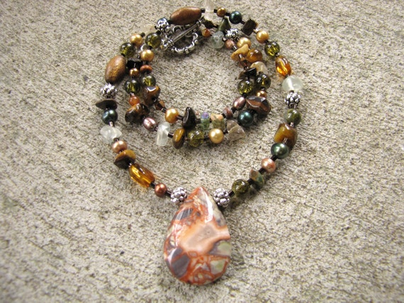 multi colored earthy gemstone necklace
