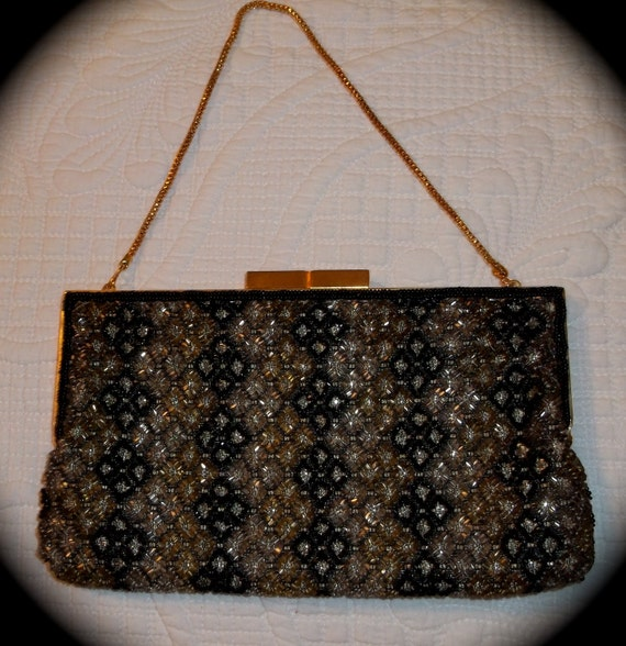 Walborg Black and Gold Beaded Evening Clutch Purse