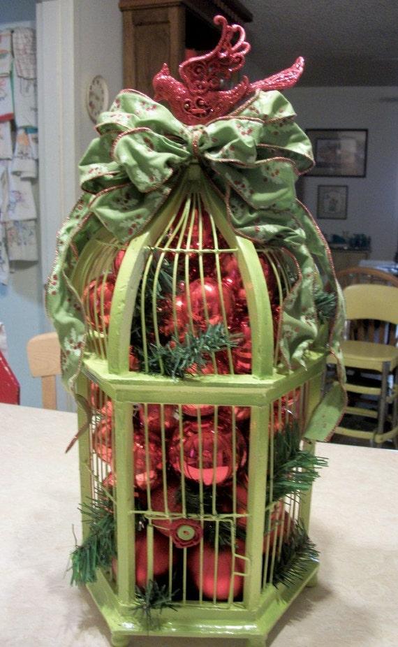 Items similar to holiday centerpiece birdcage on etsy