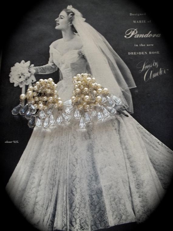 Chandelier Drop Earrings Pearls Crystal Prisms
