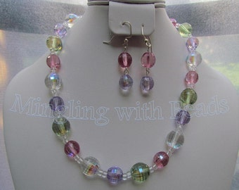 Czech Glass Beaded necklace and earrings