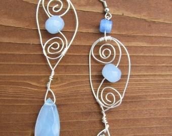 Teardrop blue beads with Spirals Earrings