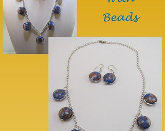 Blue and Gold bead chain necklace and earrings