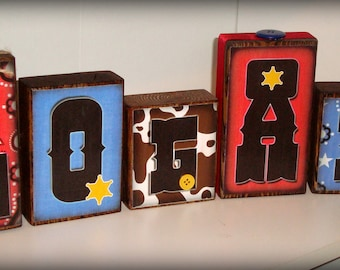 Our Little Buckaroo - Little Boys Personalized Name Blocks - Cowboy Theme