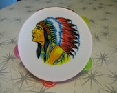 Vintage- toy tambourine- Indian Chief-  colorful-  plastic- white and pink