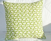 Decorative Pillow - Throw Pillow - Handmade Accent Pillow Cover - Green and Cream Pillow Cover with Wavy Swirly and Botanical Print 16x16