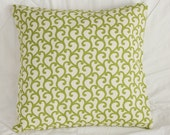 Gia Green Wave Swirl Decorative Accent Pillow 16x16 in Olive/Lime/Celery Hue