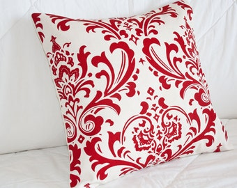 Handmade Pillow Cover, Throw Pillow Cover, Decorative Pillow - Accent Pillow Cover - 14x14 in Graphic Red and Cream Damask Print