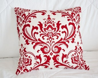 Handmade Sofa Pillow Cover, Throw Pillow Cover, Pillow Cover,Decorative Accent Pillow 14x14 in Graphic Red and Cream Damask Print