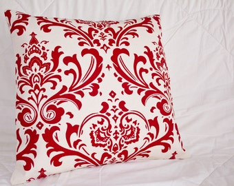 Handmade Sofa Pillow Cover, Throw Pillow Cover, Pillow Cover, Red and Cream Decorative Accent Pillow in Graphic Damask Print 16x16