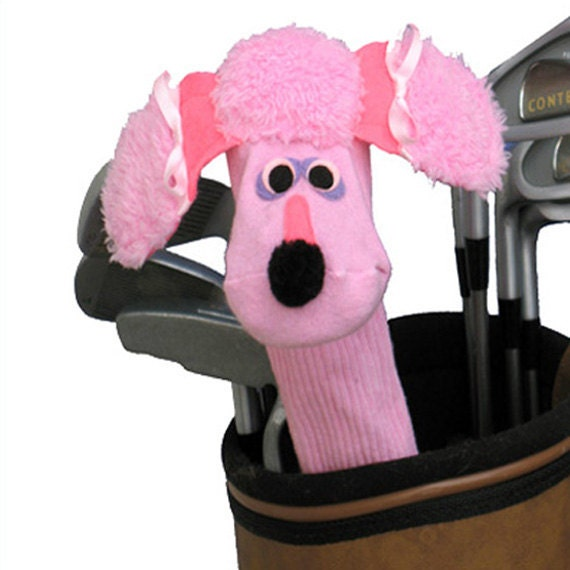 Handmade Couture Golf Club Cover Sock Puppet Style Pink Poodle