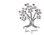 Simple Tree Drawing - Wedding Love Hearts Art Print - Love Grows