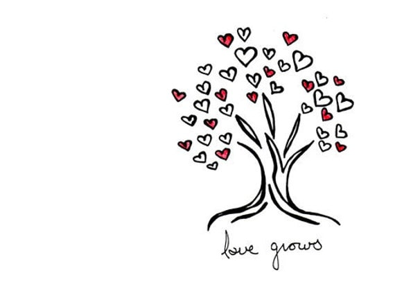 Simple tree drawing wedding love hearts art print love for Simple drawings for love