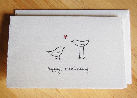 cute anniversary card simple love birdslittleshopofellesee