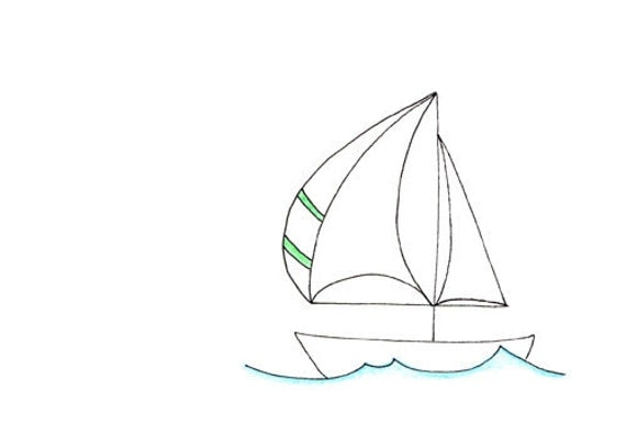 Line Art Boat : Simple sail boat line drawing limited edition art print