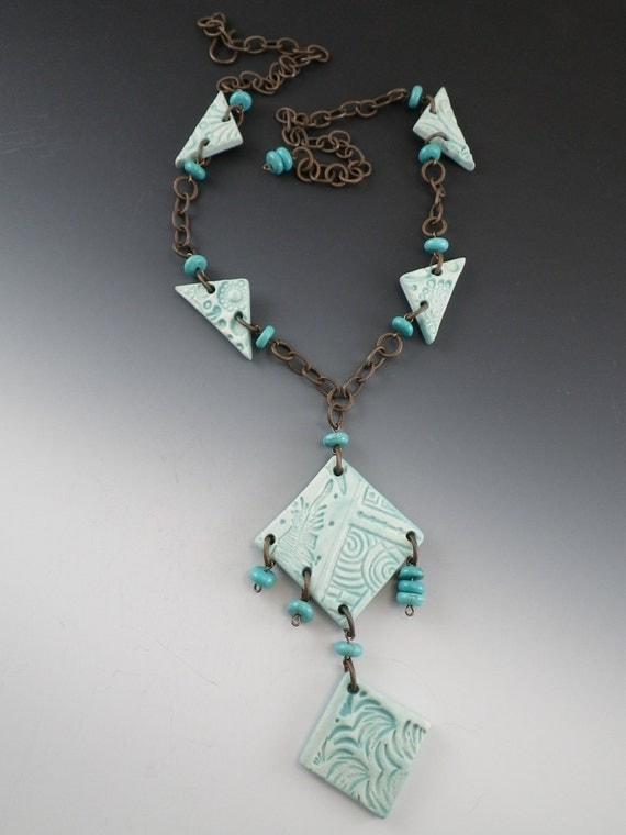 Long Ceramic Pottery Necklace with Turquoise Glaze - Turquoise Beads - (671)