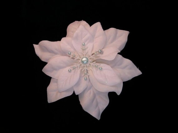 Hair Flower - Sea-foam Pearl Snowflake Glittery Fascinator
