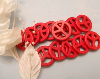 Peace Signs - Red Howlite    14