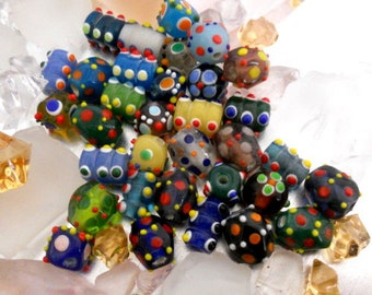 """Lampwork Beads Multicolor Red Blue Green Yellow Purple With Little """"Bumps""""    33 Beads"""