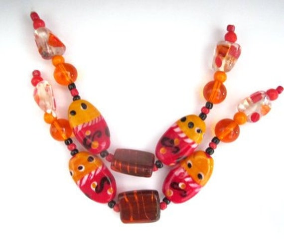 """Tangerine & More LAMPWORK BEADS -  From 1/4"""" to 1 1/8"""" Beads - 14 Large Plus Spacers"""