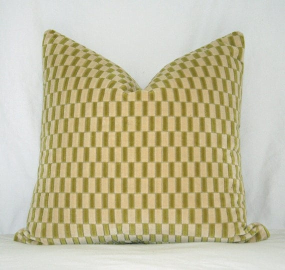 Designer Pillow Covers 18 x 18 Contemporary Geometric Running Block Tile in Chartreuse Green and Vanilla - Set of 2
