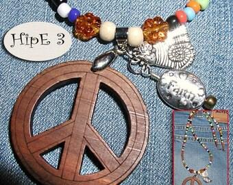 Hip-E-Dip-E Peaceful Daze- Hippie Boho Peace Necklace ET-HPE-N