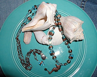 Free Shipping Ocean Blues- Glass Seahorse Charm Necklace Set ET-OB-S