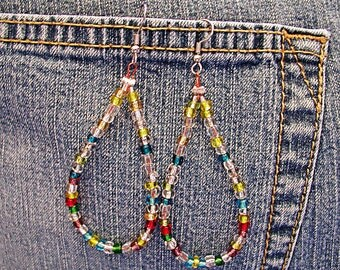 Luv Beads Rainbow Drop Hippie Boho Earrings ET-HPE-MC-E2