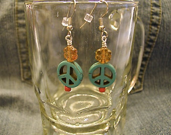 Peaceful Lobes No.2- Hippie Peace Earrings  ET-HPE-PF-E2