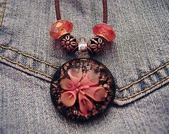Cotton Cord Slide Bead Necklace Orange Flower Pendant ET-BOBO-N1
