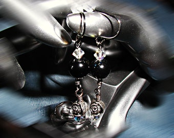 Black Rosebud TierraCast Earrings- ET-SOA-BR-E