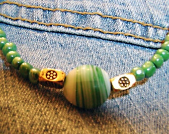 Luv Beads - Sweet - Green Seed Bead & Candy Glass Bead Necklace - ET-HPE-GLB-N