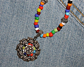 She's Like A Rainbow Necklace - Multi Color Glass Seed Beads, Hippie ET-HPE-RLB-N1