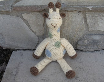 Crocheted Giraffe in Cream/Blue/Brown/Soft Green