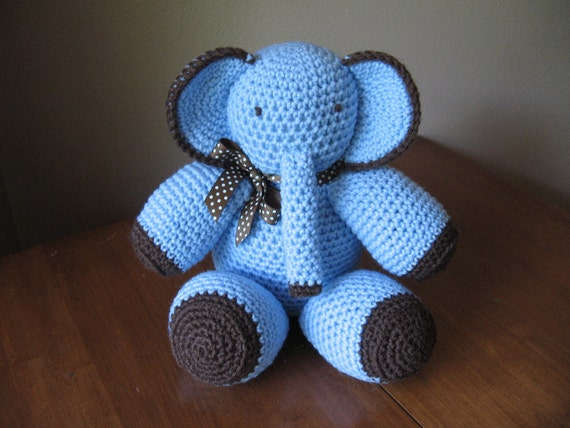 Crocheted Stuffed Elephant/Blue and Brown