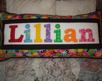 King Size Quilted & Appliqued Name Pillow Cover