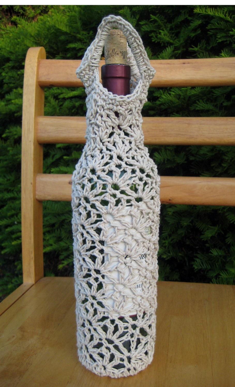 Ecru Cotton Crochet Wine Carrier
