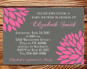 Baby shower Invitation, Baby Shower Boy, Baby Shower Girl, BOY, GIRL, Pink Flower Baby Shower Invite, Gray, Pink, digital, 1050